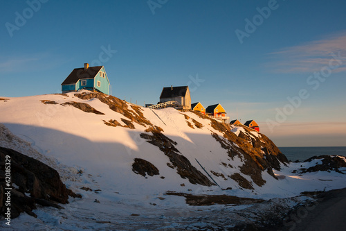Wooden houses in late afternoon light, Sisimiut, Greenland.