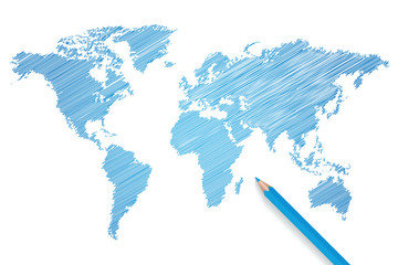 Colored pencil world map vector
