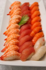 Japanese sushi shrimp tuna and  salmon