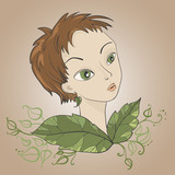 fairy, pixie in leaves