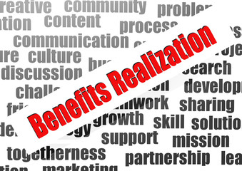 Benefits realization word cloud