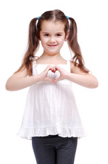 Girl making the heart with her hands
