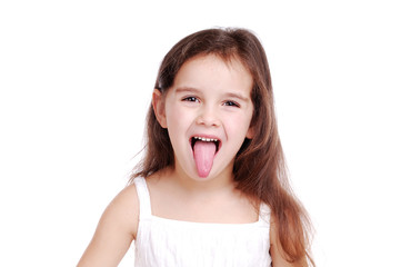 Girl showing her tongue