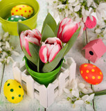 tulips and Easter colored eggs