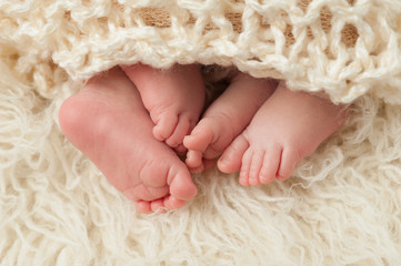 Feet of Newborn Baby Twins