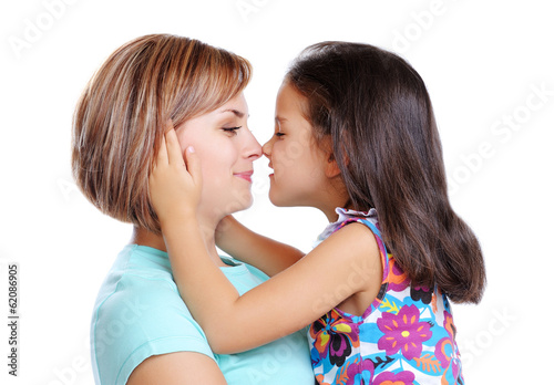 mother and daughter nose to nose