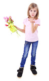 Beautiful little girl holding bouquet and present box isolated