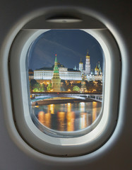 porthole and Moscow Kremlin