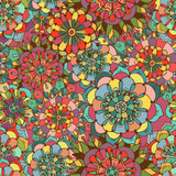 Fotoroleta Seamless texture with bright colorful flowers
