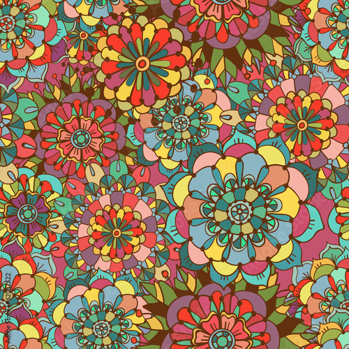 Seamless texture with bright colorful flowers
