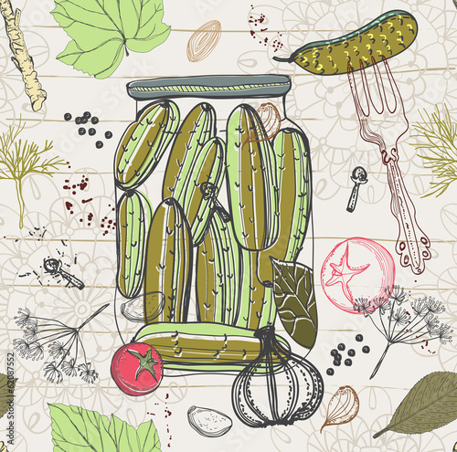 Pickled cucumbers, Seamless pattern