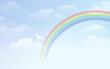 青空 虹 雲 Blue sky background with rainbow and white dove - 62087752