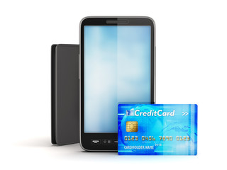 Credit card, modern cell phone and leather wallet