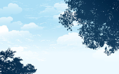 空 木 シルエット branch silhouette with blue sky background