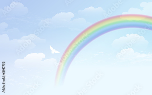 青空 虹 雲 Blue sky background with rainbow and white dove