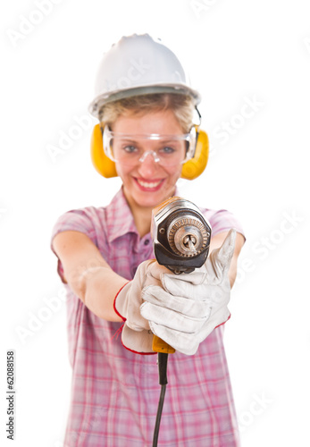 woman carpenter holding drill