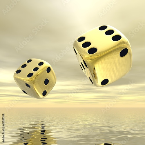 Golden dice - 3D render