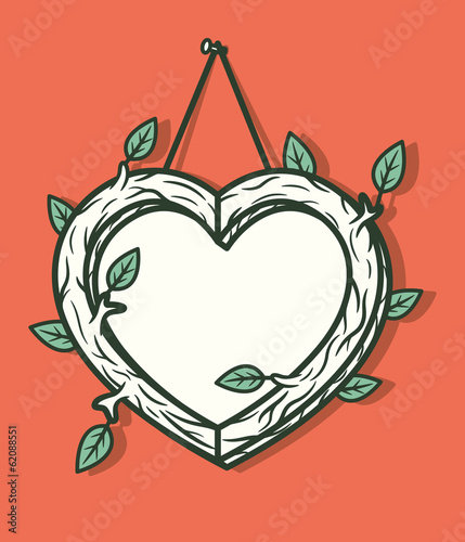 Heart wooden frame. Vector illustration.