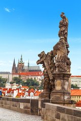 Sculpture in the Charles Bridge in Prague.
