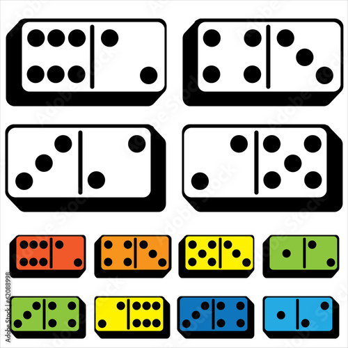 set of dominoes isolated on a white background