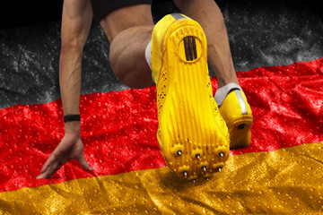 Sprinter start position german flag