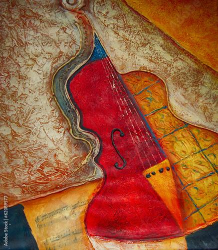 Aluminium Olieverf Kunstdruk Ölgemälde Gemälde Kunstdruck Violine Musik