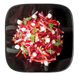 Beetroot and pear salad isolated on white