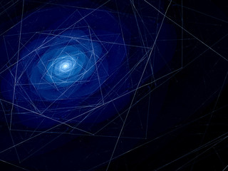 Blue spiral galaxy fractal with connections