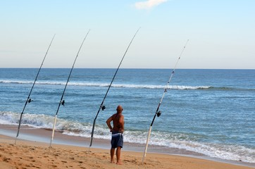 Man Surf Fishing Florida