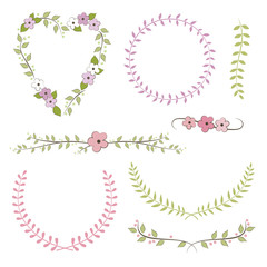 Wedding set: wreath, laurel, flowers