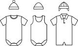 Set of child baby wear. Vector