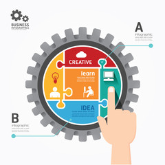 Gears Infographics push Template jigsaw banner.concept vector il