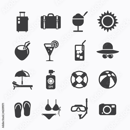 Summer Icons Set design. Icons for web design and infographic.Ve