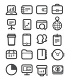 Different business icons set with rounded corners. Design elemen