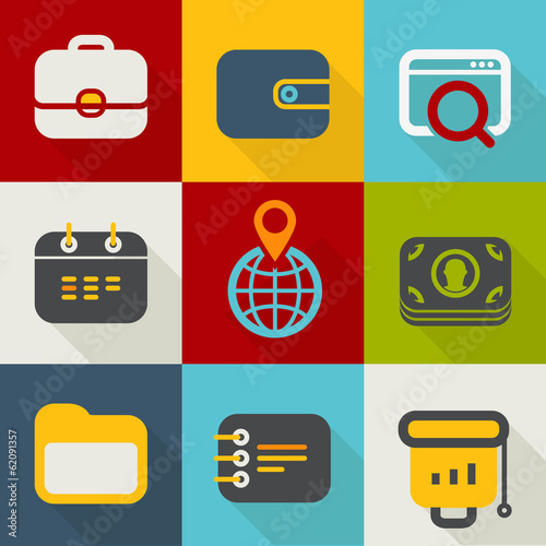 Different business icons set vintage style