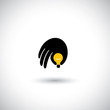 hand with light bulb icon - genius mind with ideas concept vecto