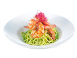 prawns with spaghetti pesto