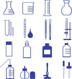chemistry glassware and tools such as flask, buret, dropper