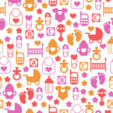 Seamless baby pattern, endless background of baby icons