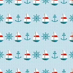 Seamless sea pattern of sailboats, anchors and steering wheels