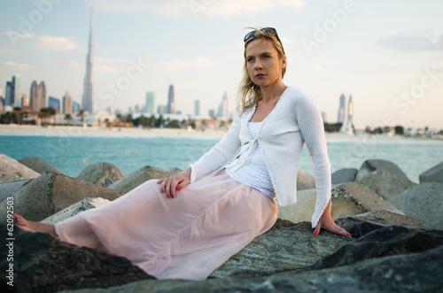 Young woman in the beach of Dubai (United Arab Emirates)