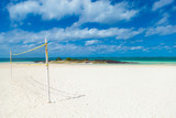 volleyball net and on the beach