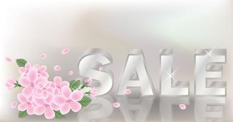 Spring sale banner. vector illustration