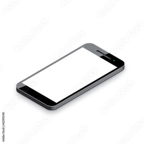 Mobile phone isolated on white. Realistic 3d smartphone vector.