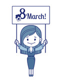 Woman congratulates March 8