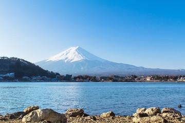 Mount Fuji from Lake Kawaguchiko, in Japan