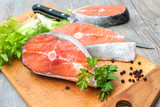 Salmon fish steaks