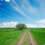 dirty road in green field and blue sky with clouds