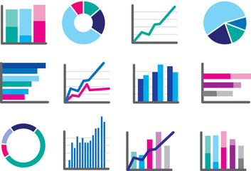 icons of financial data money or performance graphs
