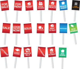 selection of property or housing sale boards